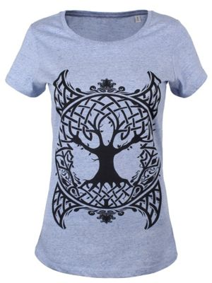 Unorthodox Celtic Tree Cream Heather Blue Round Neck Women's T-shirt