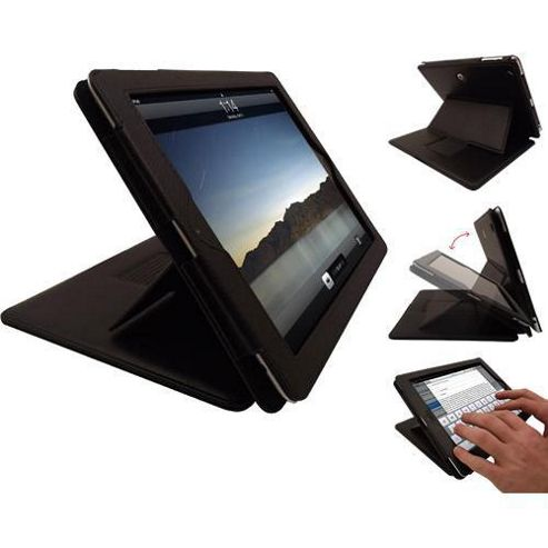 PadWear Executive Black Wallet Case With SMART TILT For Apple iPad 2 (Wi-Fi and 3G)