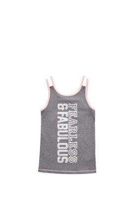 F&F Active Fearless and Fabulous Slogan Vest Top Grey/Pink 5-6 years
