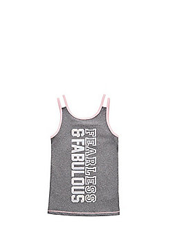 F&F Active Fearless and Fabulous Slogan Vest Top - Grey/Pink