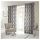 "Woodland Eyelet Curtains W229xL229cm (90x90"") - Charcoal"