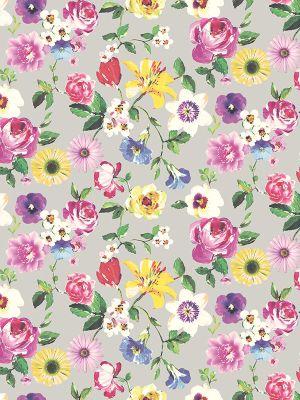 Holden Rosa Cameo Floral Wallpaper - Silver 98850