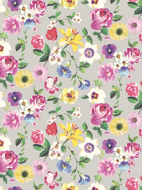 Holden Rosa Cameo Floral Wallpaper - Silver 98850