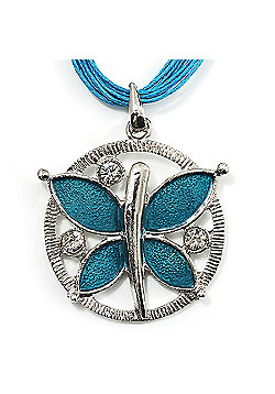 Light Blue Enamel Cotton Cord Butterfly Pendant Necklace (Silver Tone) - 40cm Length