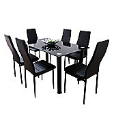 Black Lunar Dining Set With Six Black Montero Chairs
