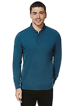 F&F Woven Collar Knitted Long Sleeve Polo Shirt - Teal