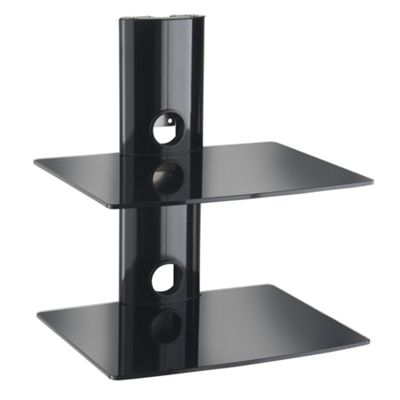 VonHaus 2x Floating Black Glass Shelves for DVD/Blu-Ray Player, Sky/TiVo Box, Game Console