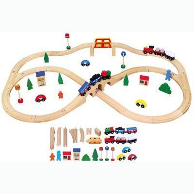 Viga Wooden Train Set (49-Piece)