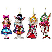 Set of 4 Alice in Wonderland Character Glass Christmas Tree Baubles