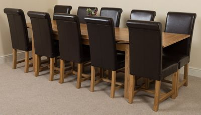 Richmond Solid Oak Extending 200 - 240 cm Dining Table with 10 Black Washington Leather Dining Chairs