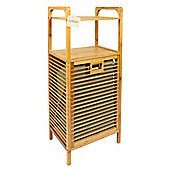 Woodluv Bamboo Laundry Linen Storage Hamper Basket With 2 Shelves - Large