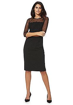 F&F Dobby Mesh Yoke Bodycon Dress - Black