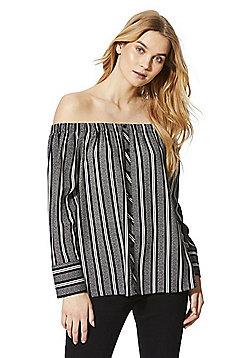 F&F Scratch Stripe Button-Through Bardot Top - Black