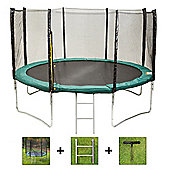 Up and About 12ft Stormpower Green Trampoline Package with Free Ladder, Weather Cover and Building Tool