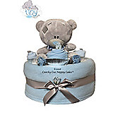 New Baby Boy Tatty Teddy Bear Nappy cake Gift Hamper