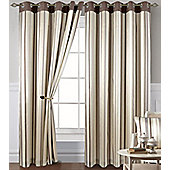 Coffee Striped Eyelet Curtains 90s - Montana, Beige, Brown, Cream