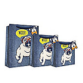 Blue Denim Pug Gift Bag - Medium