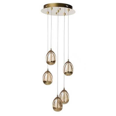 Litecraft Fargo 5 Bulb Bubble Glass LED Ceiling Pendant, Gold