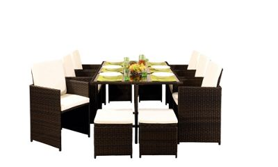 Comfy Living 10 Seater Rattan Outdoor Garden Furniture Set In Brown - 6 Chairs 4 Stools & Dining Table