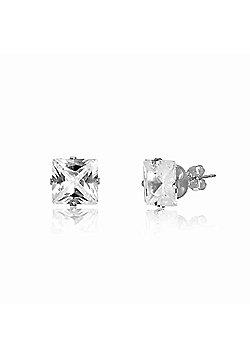 Urban Male Sterling Silver 8mm Square CZ Stud Earrings For Men
