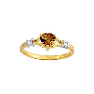 QP Jewellers Diamond & Citrine Heart Ring in 14K Gold - Size V 1/2