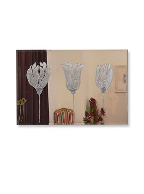 Large Frameless Triple Silver Tulip Glass Wall Mirror 3Ft11 X 2Ft8