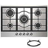 Cookology GH755SS | 75cm Built-in 5 Burner Gas Hob in Stainless Steel & Wok Stand