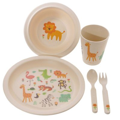 Bambootique Zooniverse Bamboo Children's 5 Piece Dinner Set