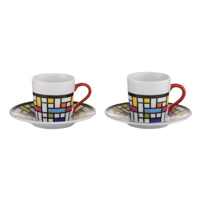 BIA Mosaic Espresso Cup and Saucer, Set of 2