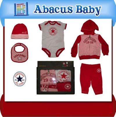Baby Girls Converse 5 Piece Gift Set Bodysuit, Tracksuit, Baby Hat, Baby Bib