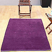 Homescapes Chenille Plain Cotton Medium Size Rug Purple, 60 x 100 cm