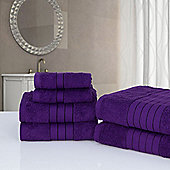 Dreamscene Luxury Egyptian Cotton 6 Piece Bath Towel Set - Plum