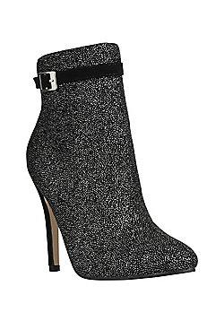 Dolcis Sparkle Stiletto Heel Ankle Boots - Black