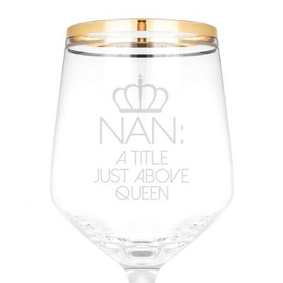 Classy and Chic Wine Glass Engraved with Queen Nan Design