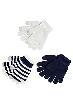F&F 3 Pair Pack of Sparkle, Striped and Plain Touch Screen Gloves - White