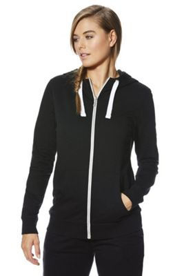 F&F Active Contrast Drawstring Zip-Through Hoodie 18 Black