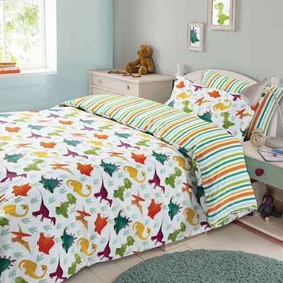 Dinosaur Kids Duvet Cover Bedding Set White Green, Single