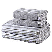 100% Cotton 2 Hand 2 Bath Towel Bale - Grey Marl Stripe
