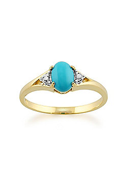 Gemondo 9ct Yellow Gold 0.66ct Oval Turquoise & Diamond Ring