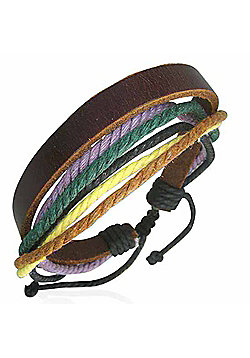 Men's Brown Leather & Coloured Cord Multi-strand Surf Bracelet by Urban Male