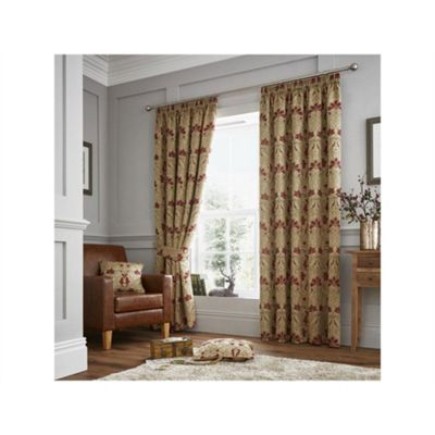 Curtina Burford Red & Gold Pencil Pleat Curtains - 66x54 Inches (168x137cm)