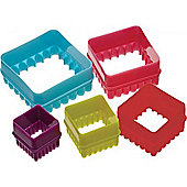 Six Piece Square Coloured Cookie Cutter Set