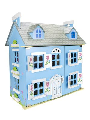 Leomark Blue Wooden Doll House with Furniture and Dolls