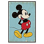 Gloss Black Framed Walt Disney Retro Mickey Mouse Poster
