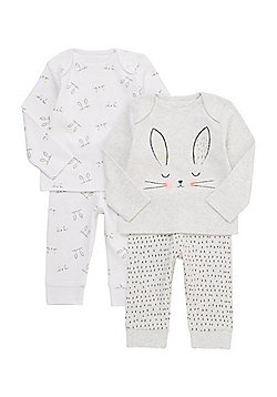 F&F 2 Pack of Bunny Face Pyjamas - Multi pink