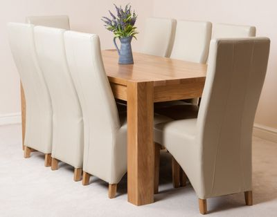 Kuba Chunky Solid Oak 180 cm Dining Table with 8 Ivory Lola Leather Chairs