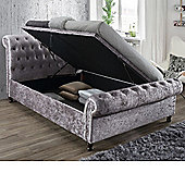Happy Beds Castello Crushed Velvet Fabric Side Ottoman Storage Bed with Memory Foam Mattress - Steel