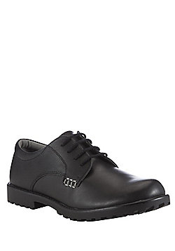 F&F Wide Fit Leather Cleated Sole School Shoes - Black