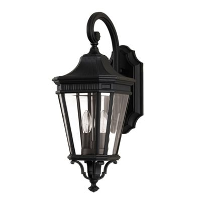Black Medium Wall Lantern - 2 x 60W E14