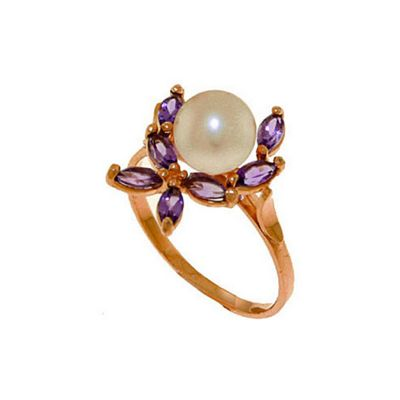 QP Jewellers Amethyst & Pearl Ivy Ring in 14K Rose Gold - Size B 1/2